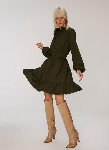 People By Fabrika Volanlı Mini Elbise Haki